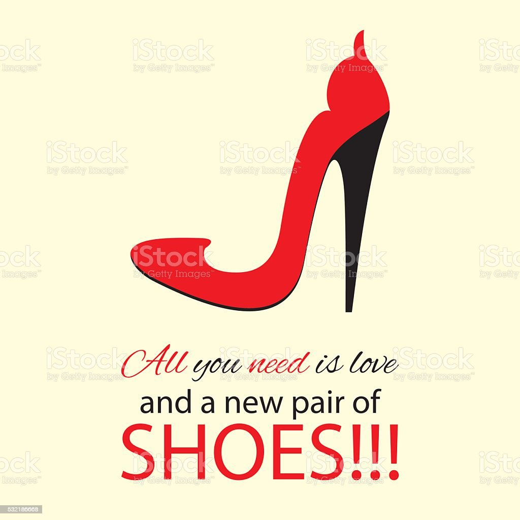 Womens high heel red shoes with text. vector art illustration