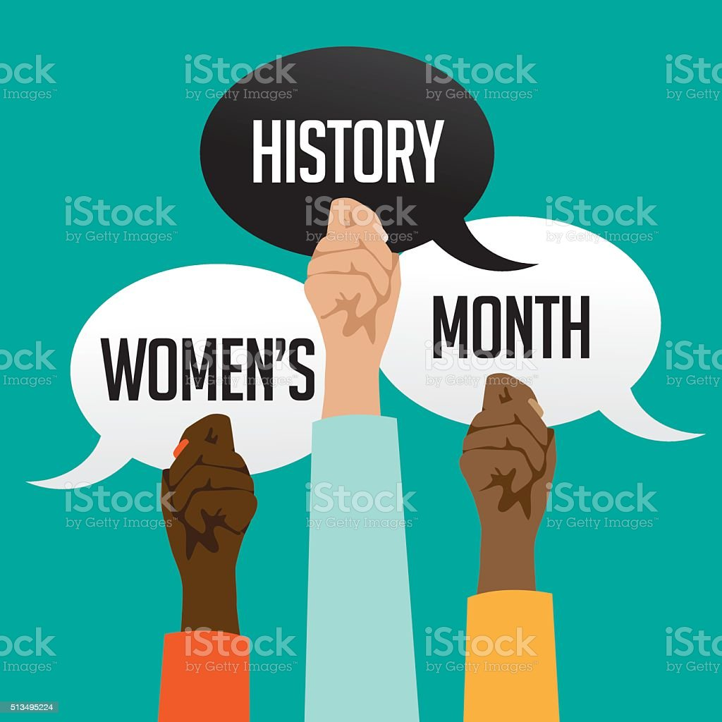 Women's history month design with multicultural hands vector art illustration