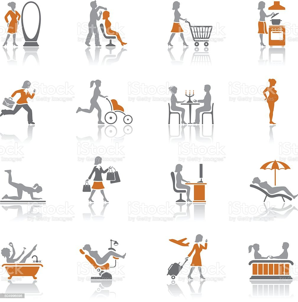 Women's life icons vector art illustration