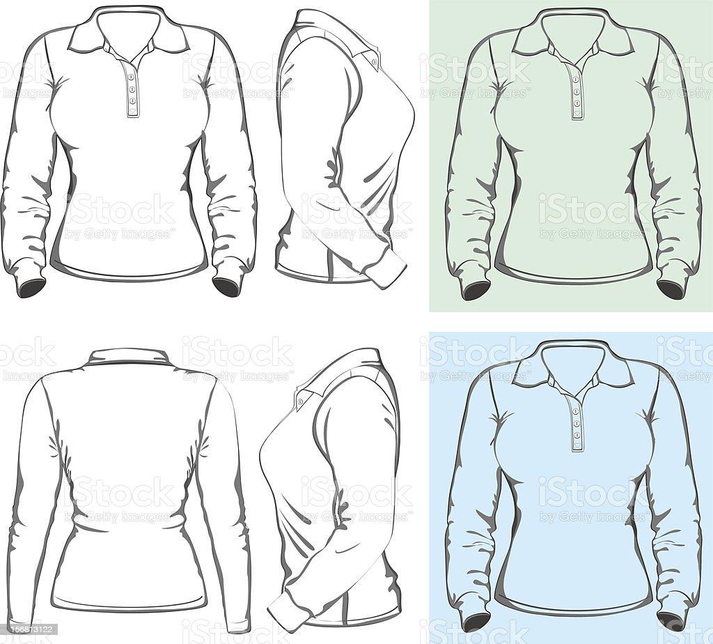Women's long sleeve polo-shirt royalty-free stock vector art