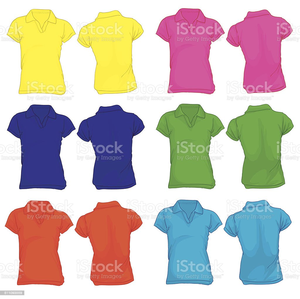 Women's Polo Shirt Template in Many Color vector art illustration