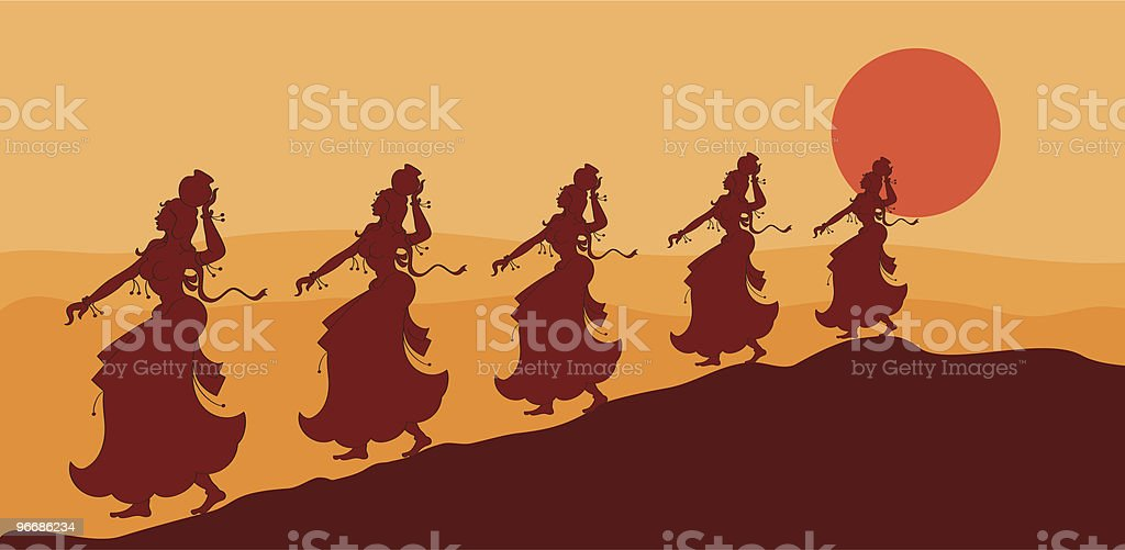 Women's returning home vector art illustration