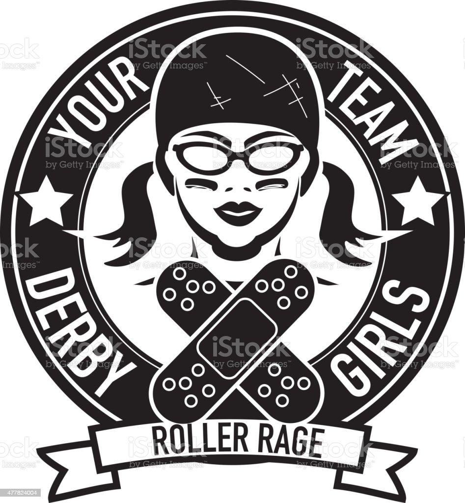 Women's roller derby league badge or label design vector art illustration
