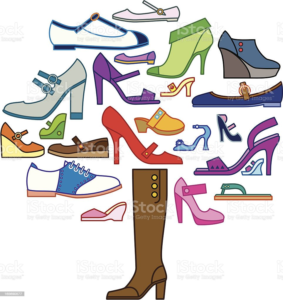 Women's Shoe Tree vector art illustration