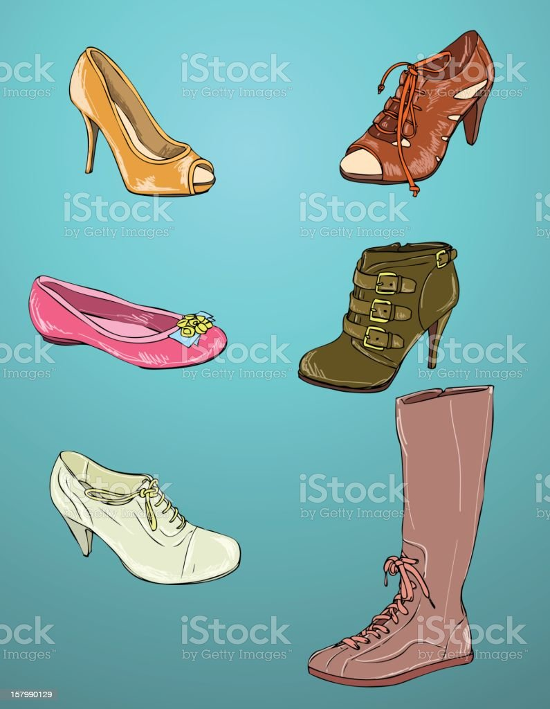 Women's shoes vector art illustration