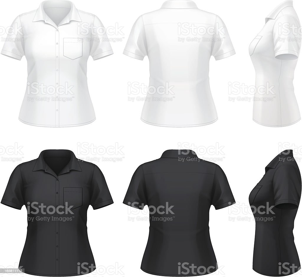 Women's short sleeve dress shirt royalty-free stock vector art