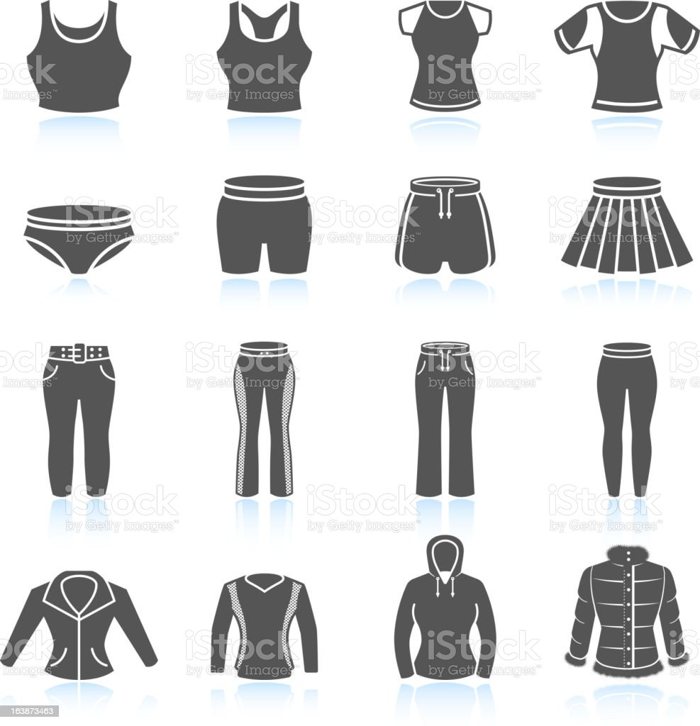 Women's sport clothing and outfits black & white icon set vector art illustration