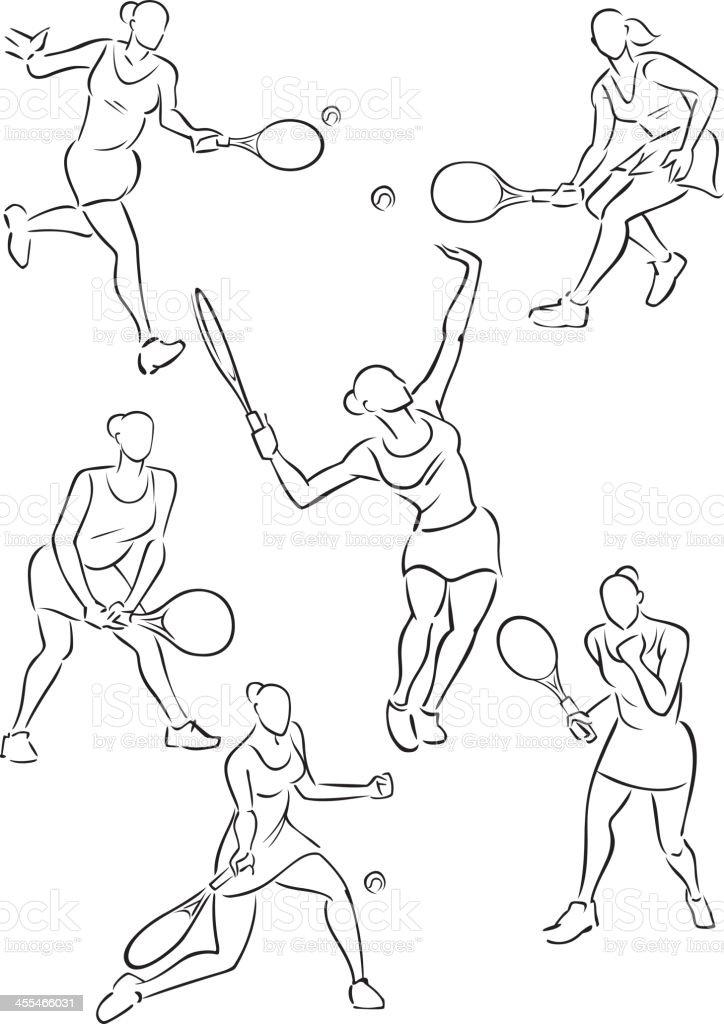 Women's tennis royalty-free stock vector art