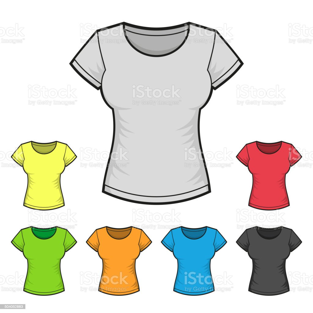 Women's T-shirt Design Template Color Set. Vector royalty-free stock vector art