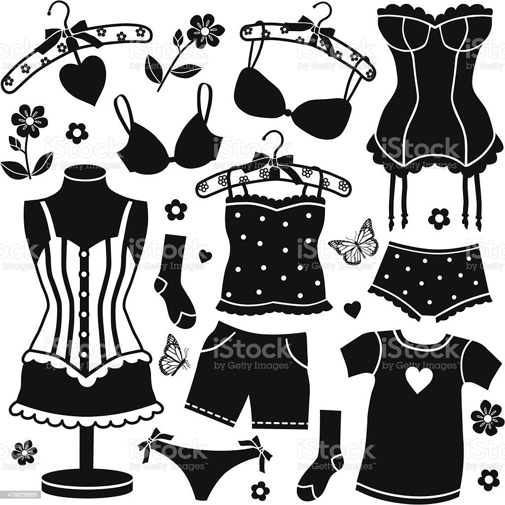 women's undergarments royalty-free stock vector art