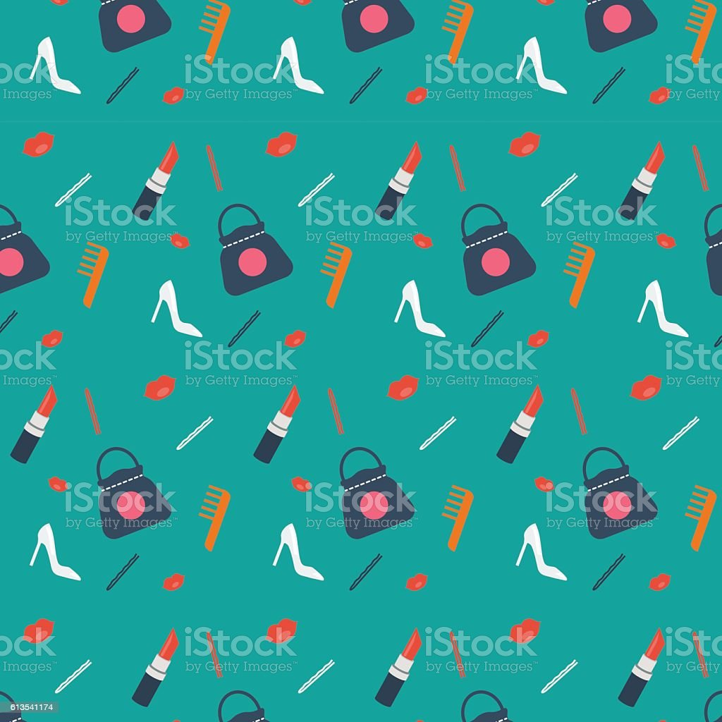 Women's vector pattern, background with fashion shoes, bag, lipstick, comb vector art illustration