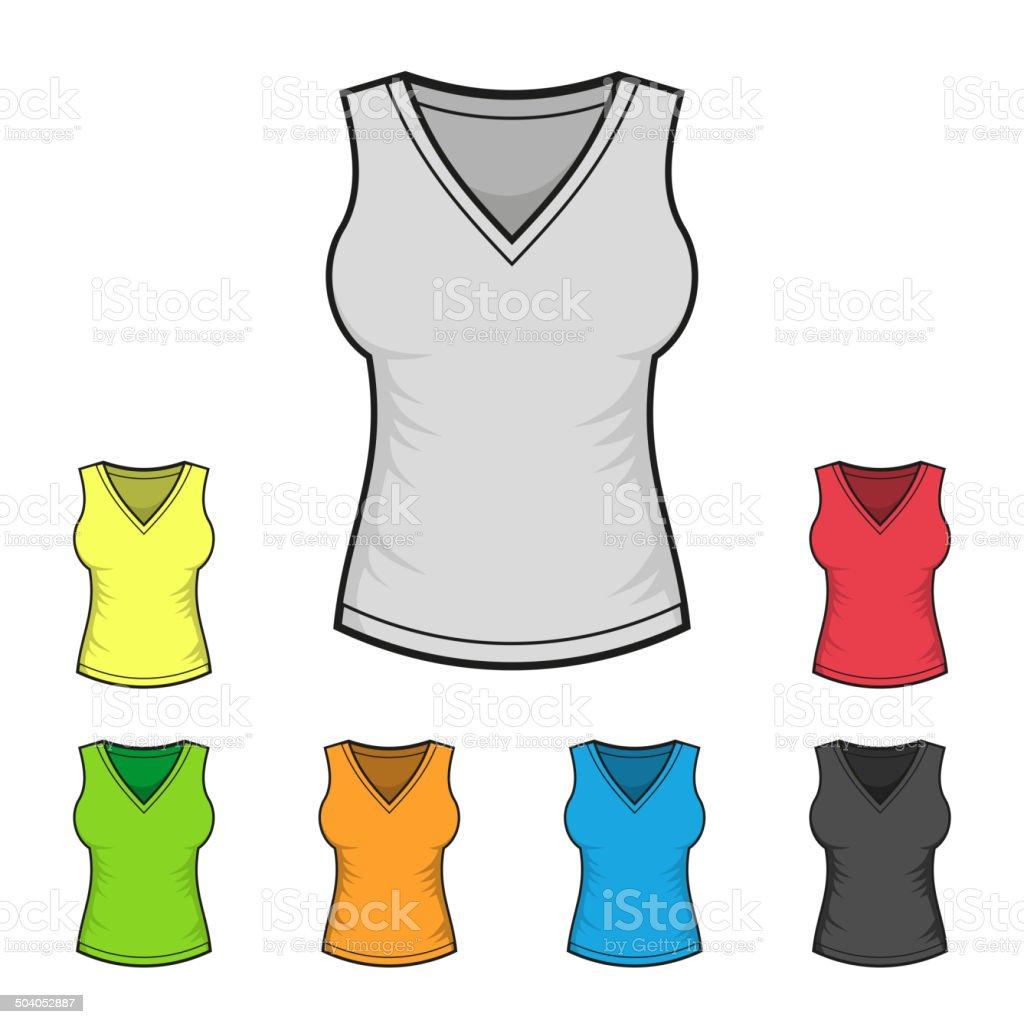 Women's V-neck Shirt Design Template Color Set. Vector royalty-free stock vector art
