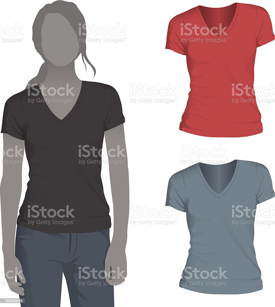 Women's V-Neck T-Shirt Mockup Template vector art illustration