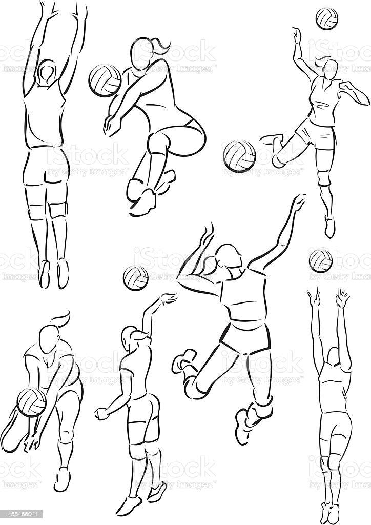 Women's volleyball vector art illustration