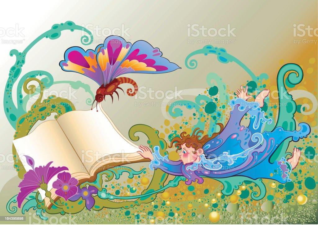 Wonder book vector art illustration