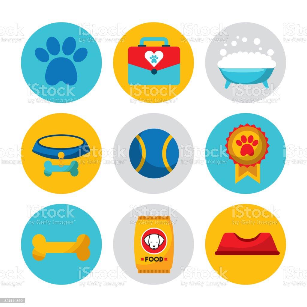 Wonderful dogs accessories vector art illustration