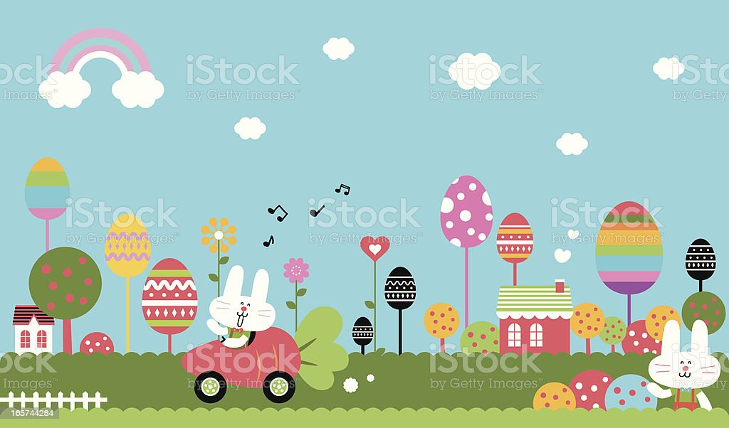Wonderful Easter Bunny World vector art illustration