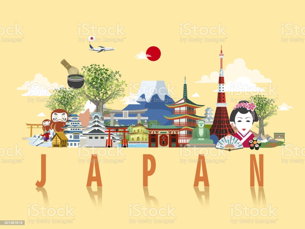 wonderful Japan travel poster vector art illustration
