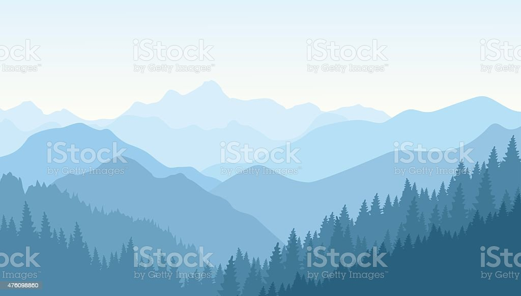 Wonderful morning in the blue mountains vector art illustration