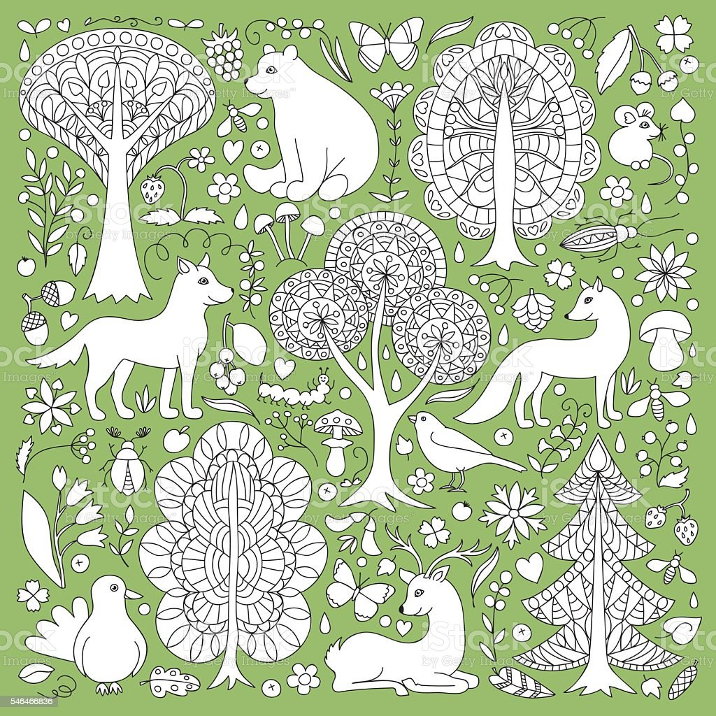 Wonderland Fun Forest vector art illustration