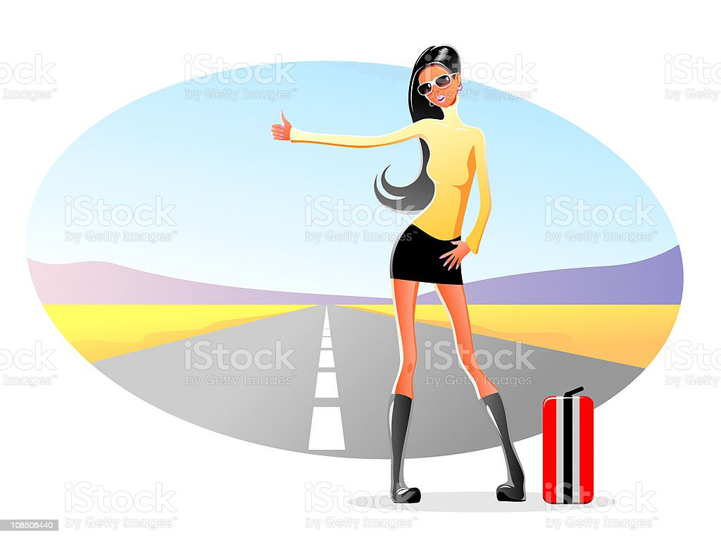 wonen hitchhiking vector art illustration