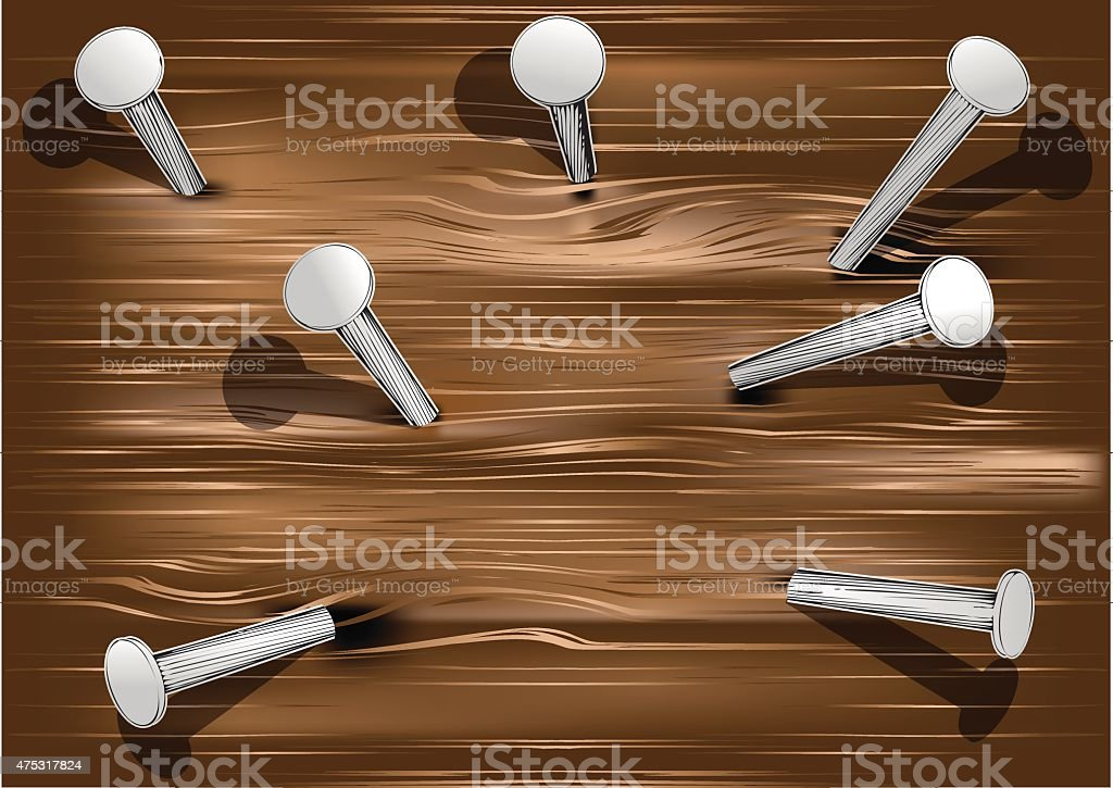 wood and nails vector art illustration