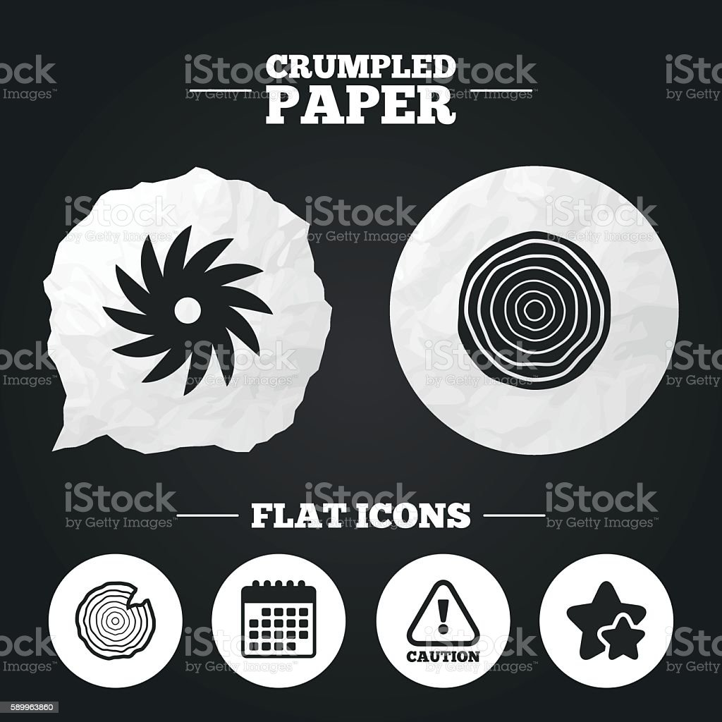 Wood and saw circular wheel icons. Attention. vector art illustration