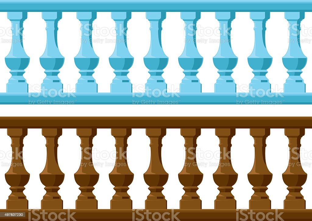 wood and Stone railing vector art illustration