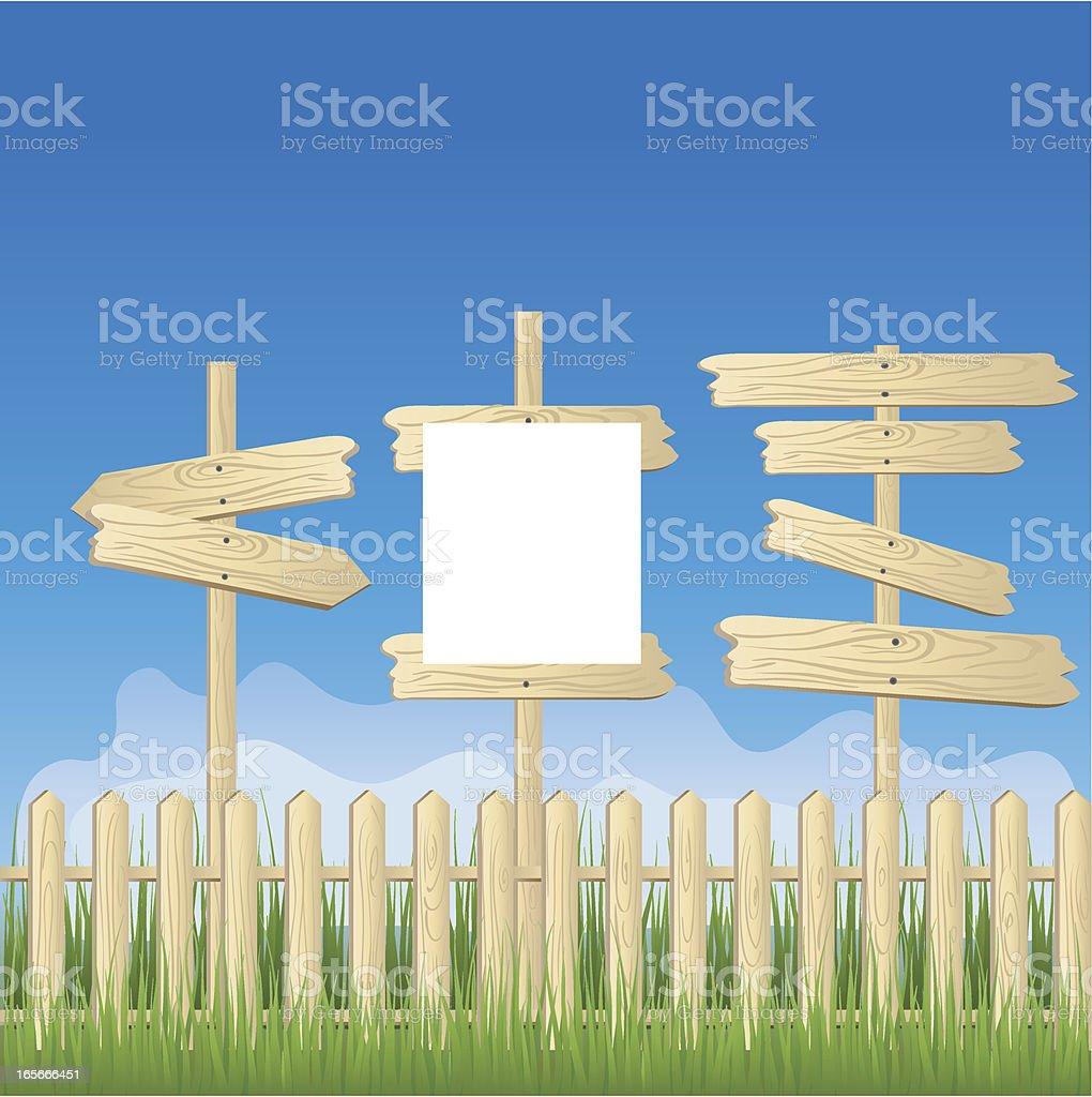 wood arrow sing vector art illustration