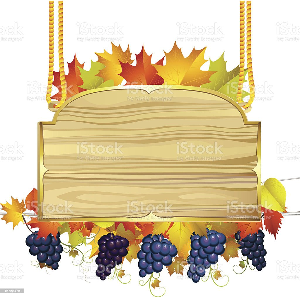 Wood banner with grapes royalty-free stock vector art