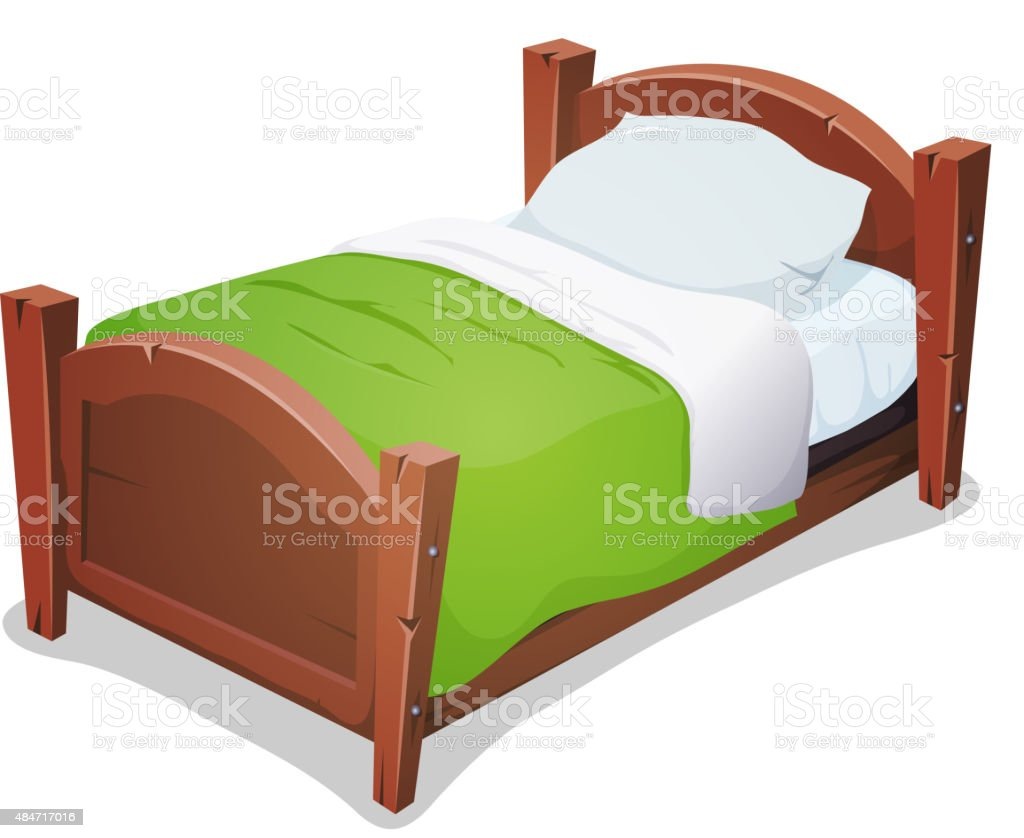 Wood Bed With Green Blanket vector art illustration