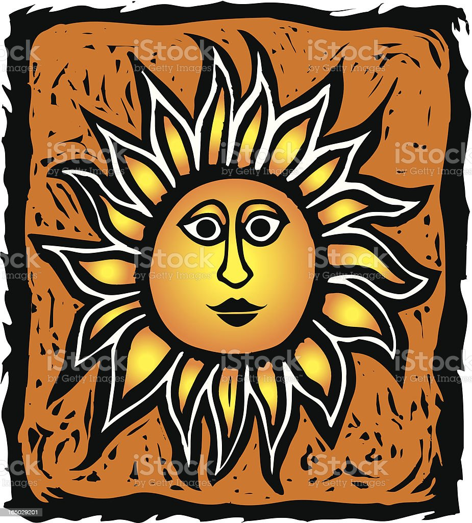 Wood Block Sun royalty-free stock vector art