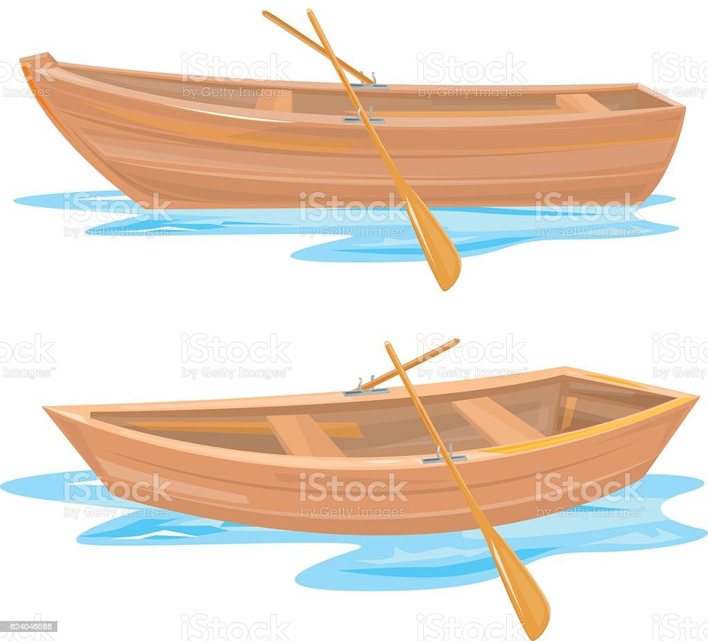 Wood boat vector art illustration