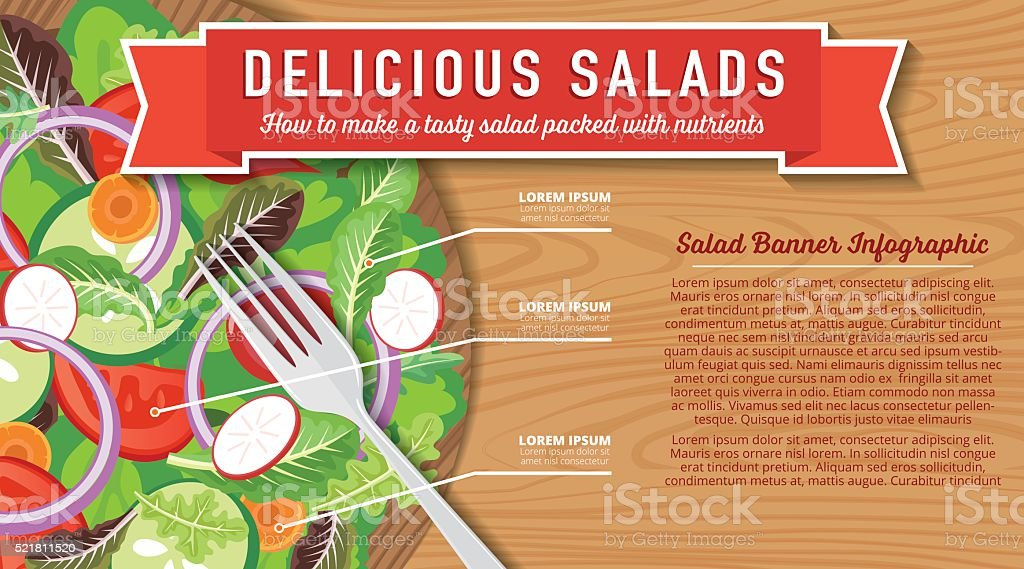 Wood Bowl Of Salad On A Wood Background Infographic vector art illustration