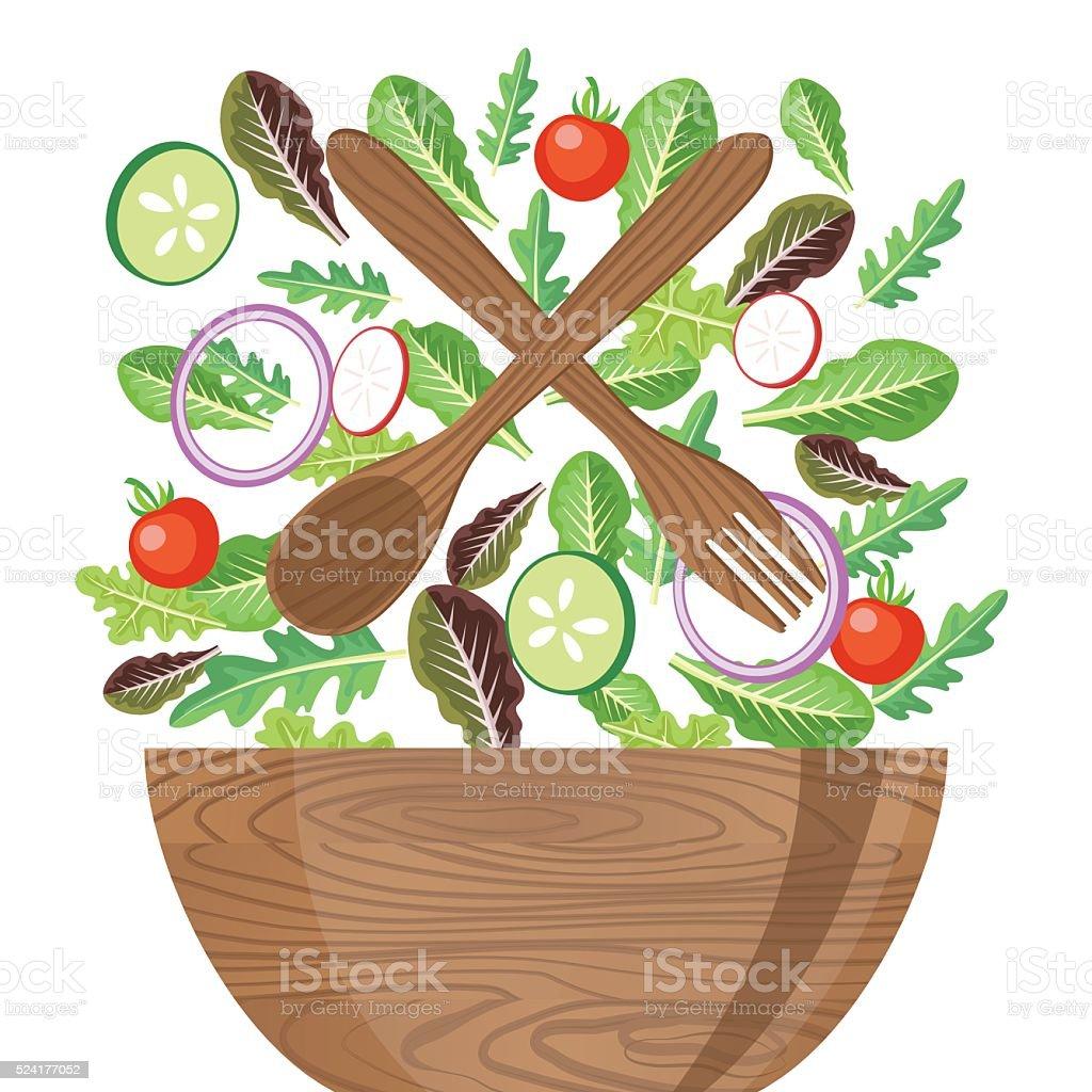 Wood Bowl Of Salad With Flying Vegetables vector art illustration