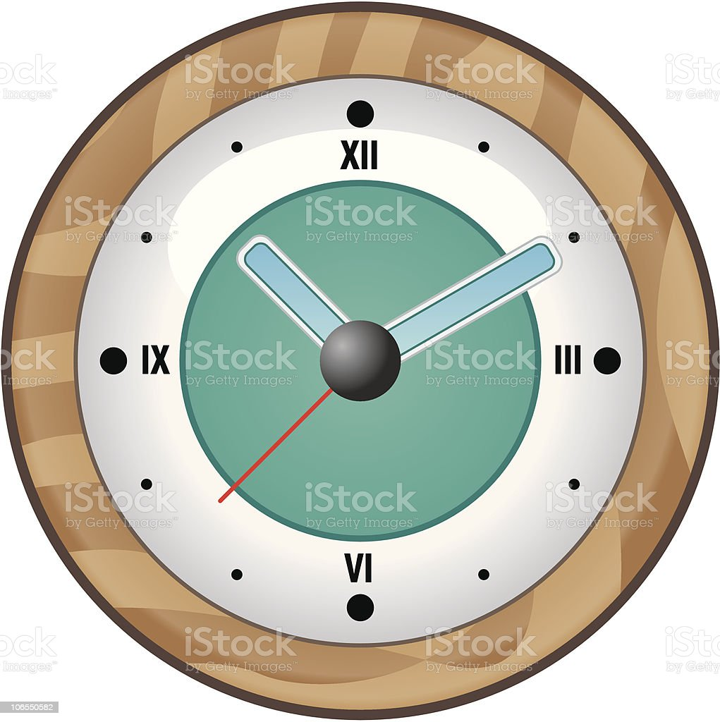 Wood clock vector art illustration