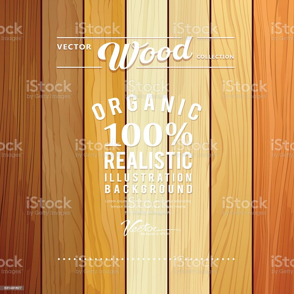Wood collections realistic texture design vector art illustration