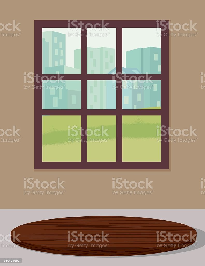 Wood Cutting Board On A Counter vector art illustration