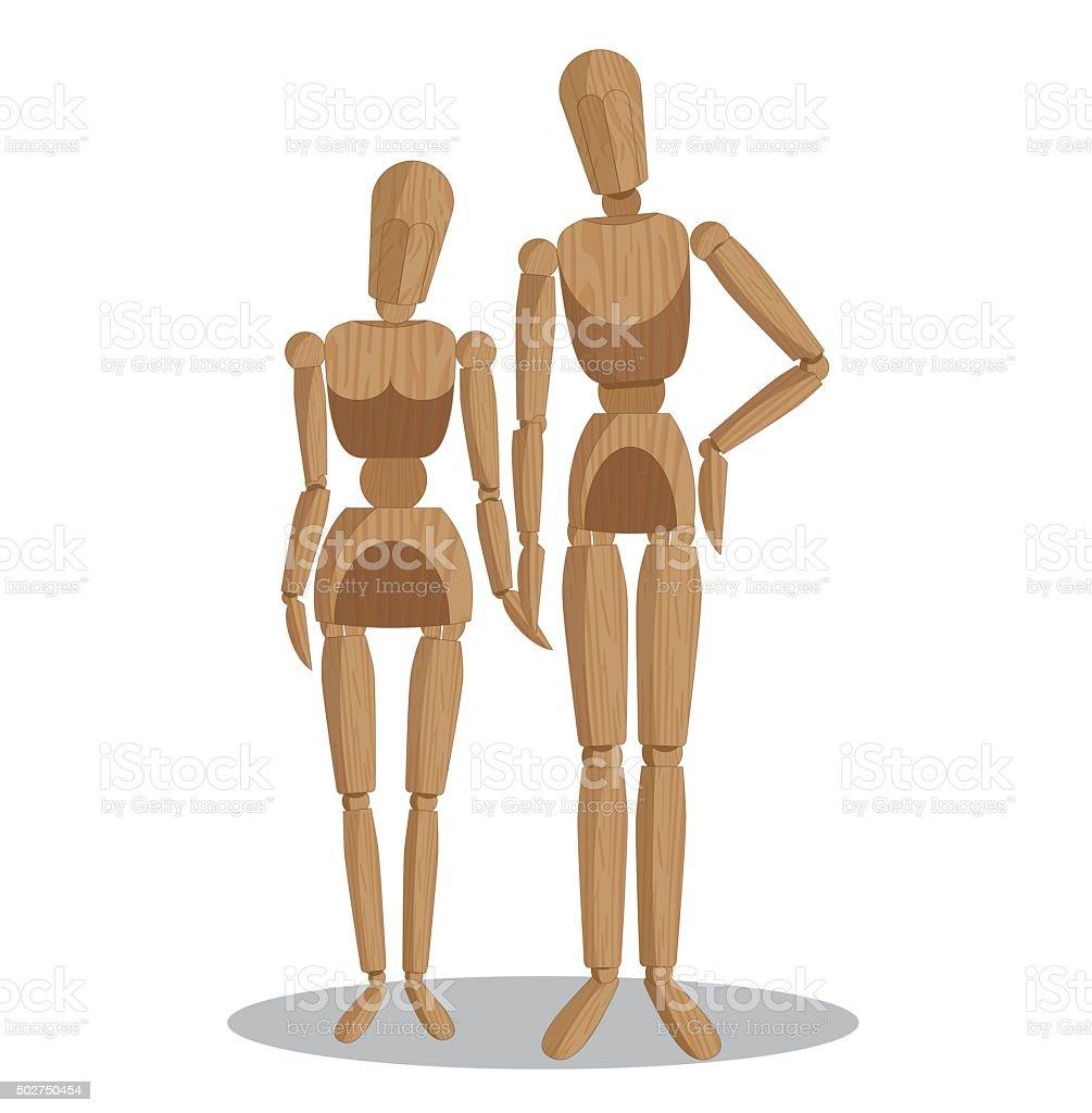 wood dummies couple vector art illustration