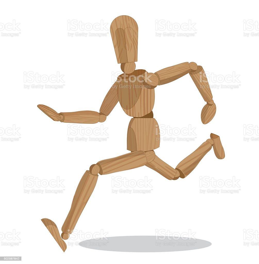 wood dummy running vector art illustration