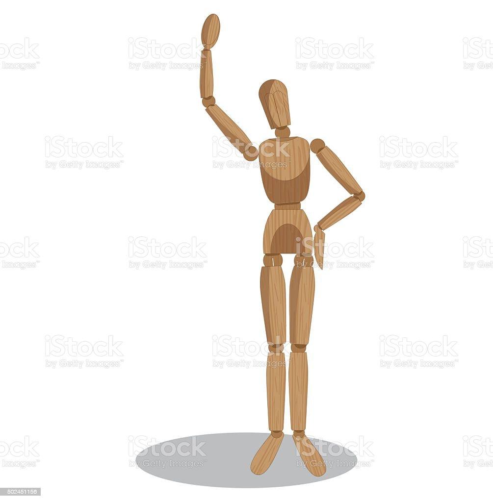 Wood dummy saying hello vector art illustration