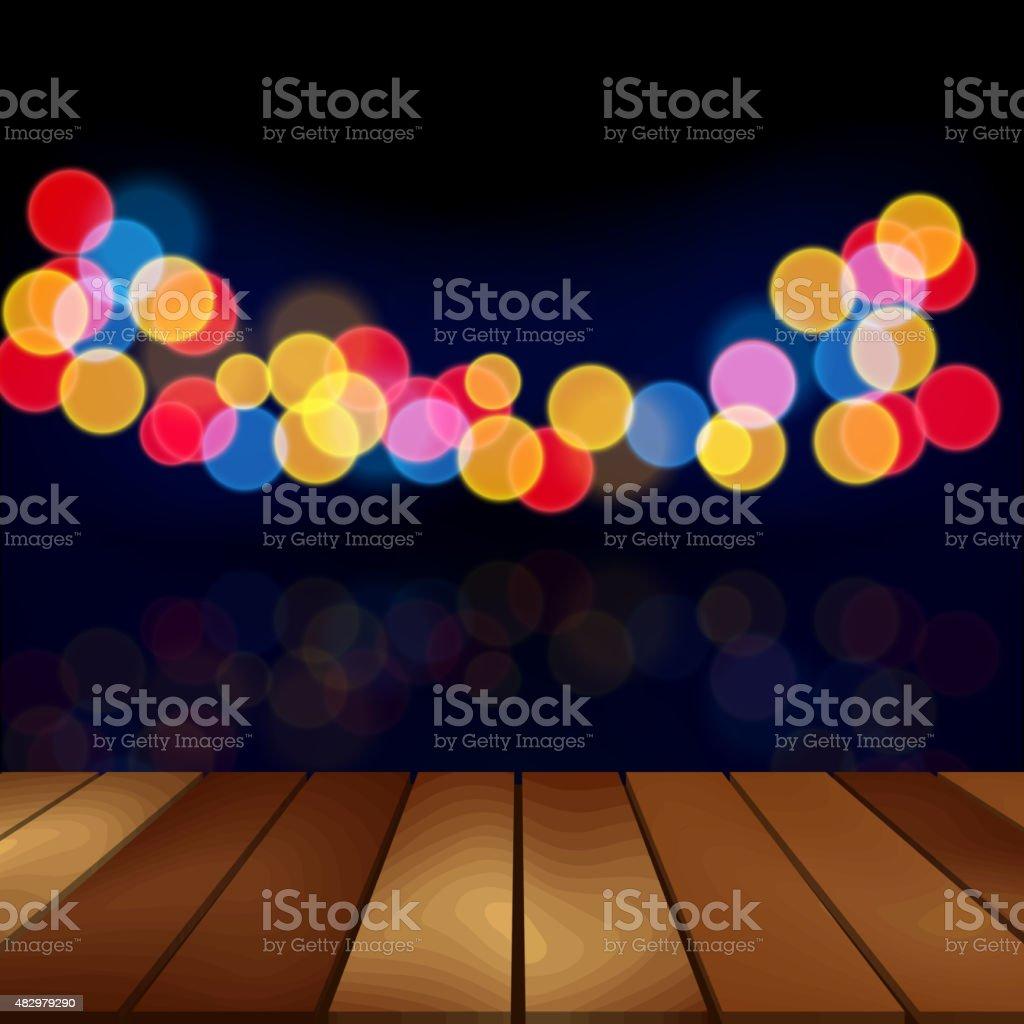 Wood floor and blurred night scene background vector art illustration
