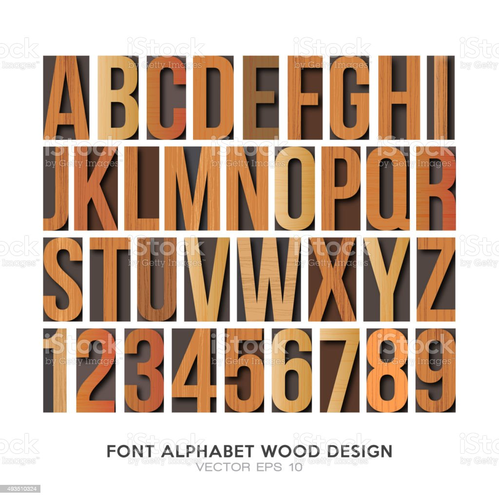 wood font english alphabet vector vector art illustration