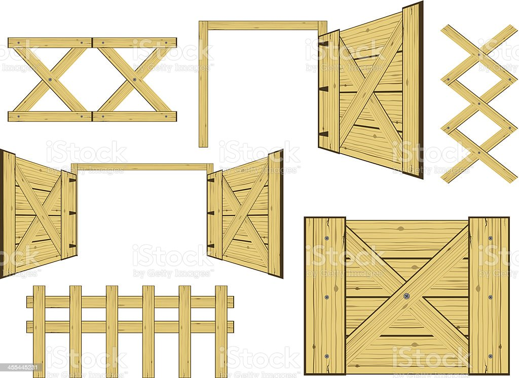 Wood gates and fences vector art illustration