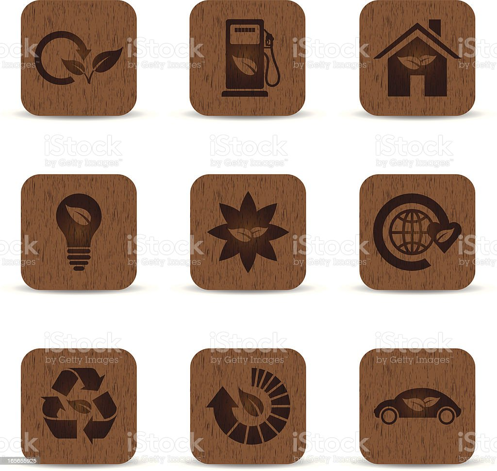 Wood Grain Eco Icons royalty-free stock vector art