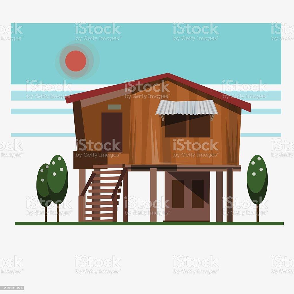 wood home - vector illustration vector art illustration