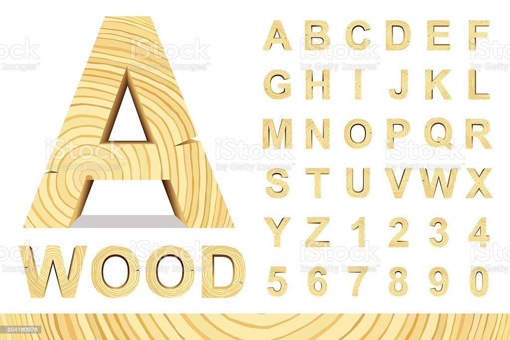 Wood letters set vector art illustration