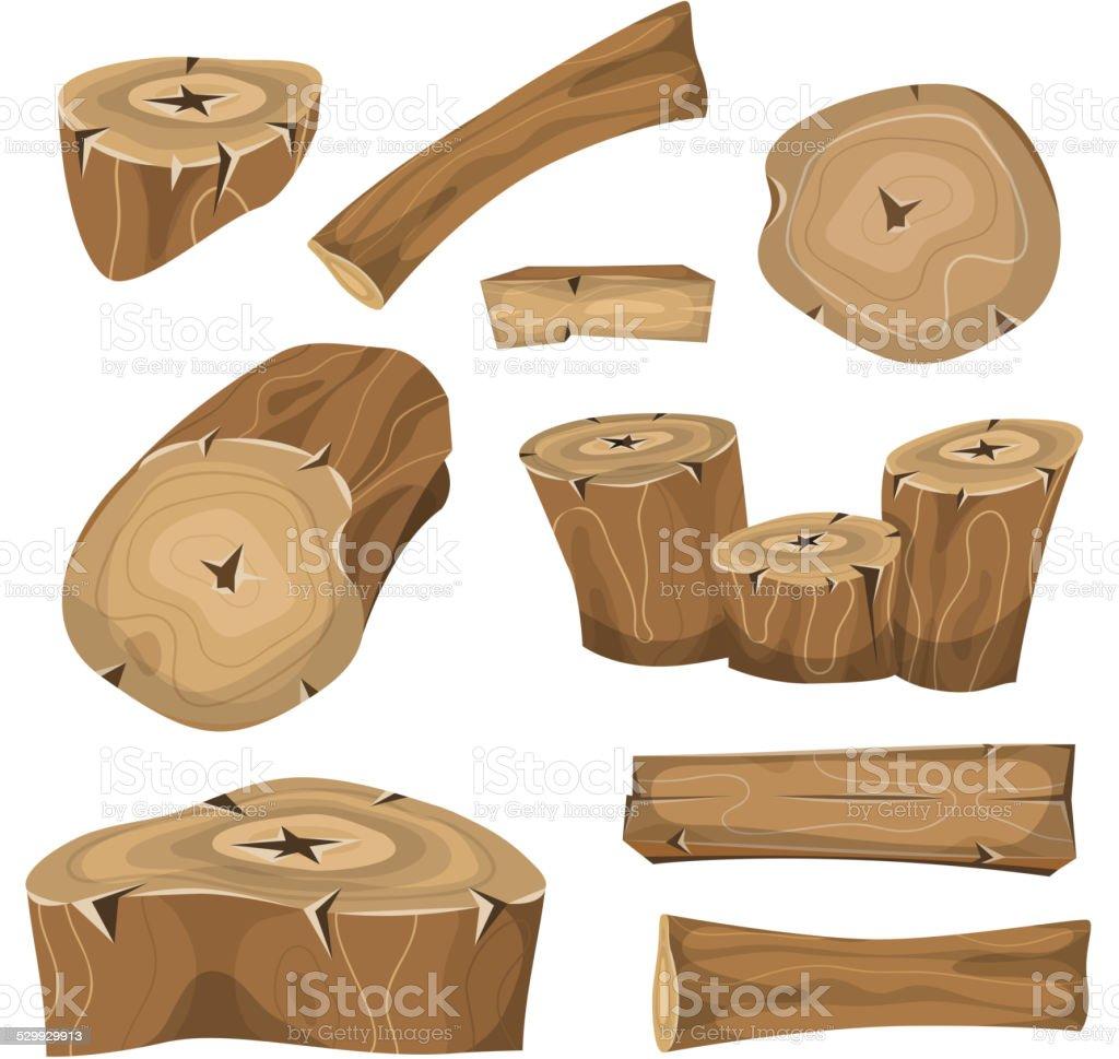 Wood Logs, Trunks And Planks Set vector art illustration
