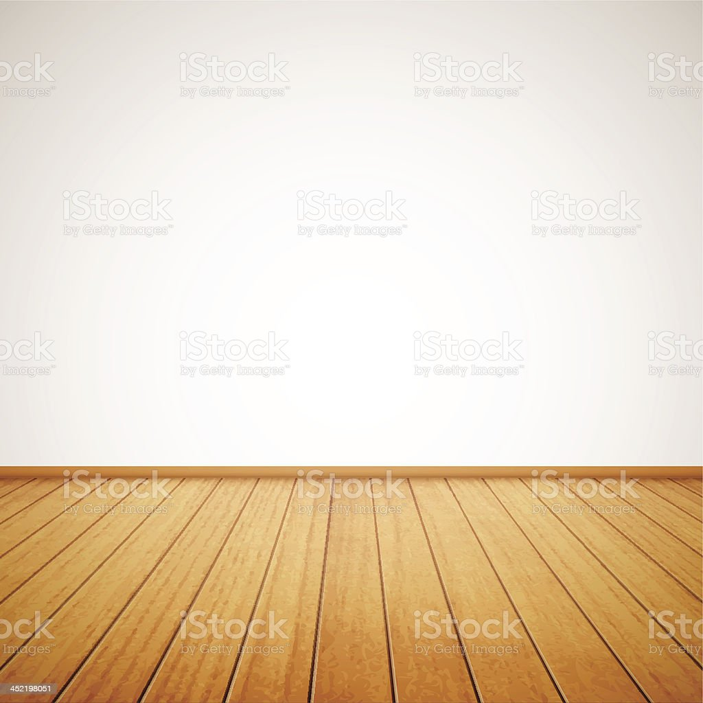 Wood panel floor in maple tone with white wall background vector art illustration