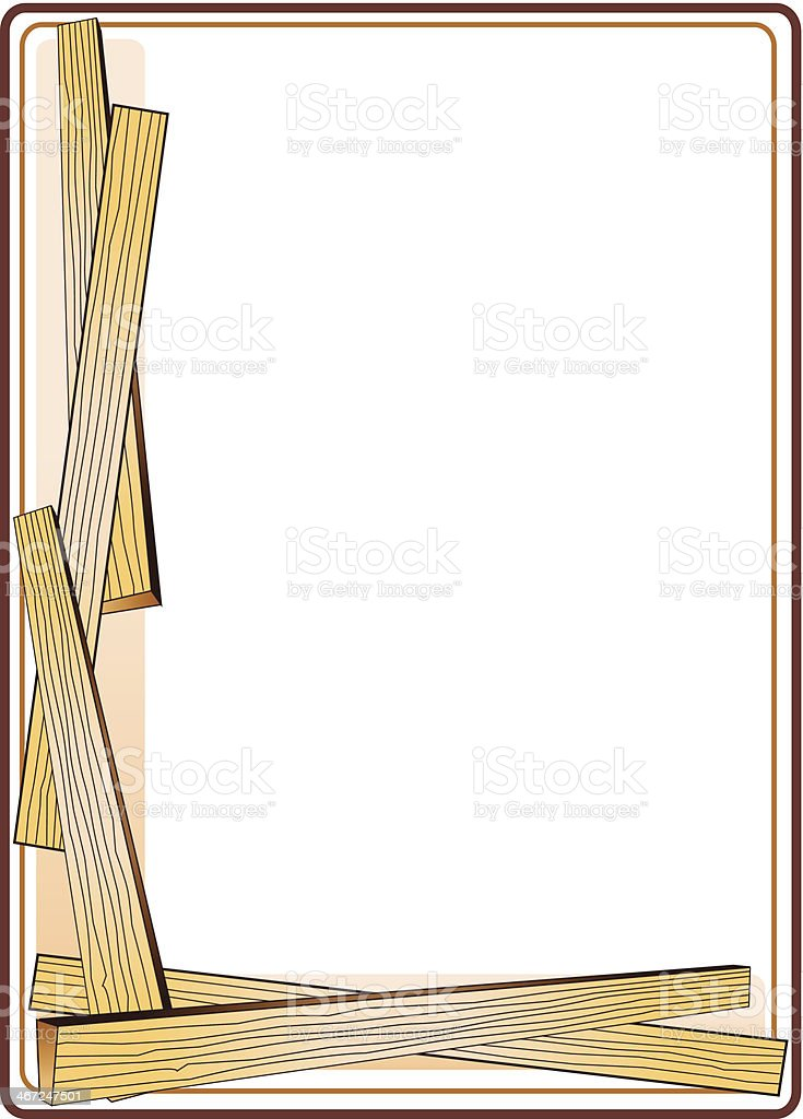 Wood Planks Frame C vector art illustration